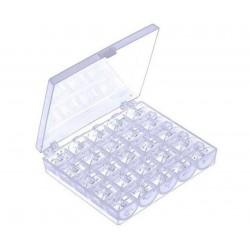 Pudełko i 25 szpulek plastikowych do maszyny do szycia