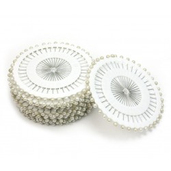 Białe szpilki krawieckie na krążku 4 cm - 40 szt
